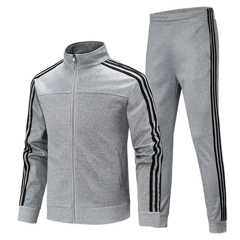 Stand-Up Collar Cardigan Two-Piece Men's Sports Suit