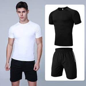 Men Short Sleeve Sports Fitness Quick-Drying Suit