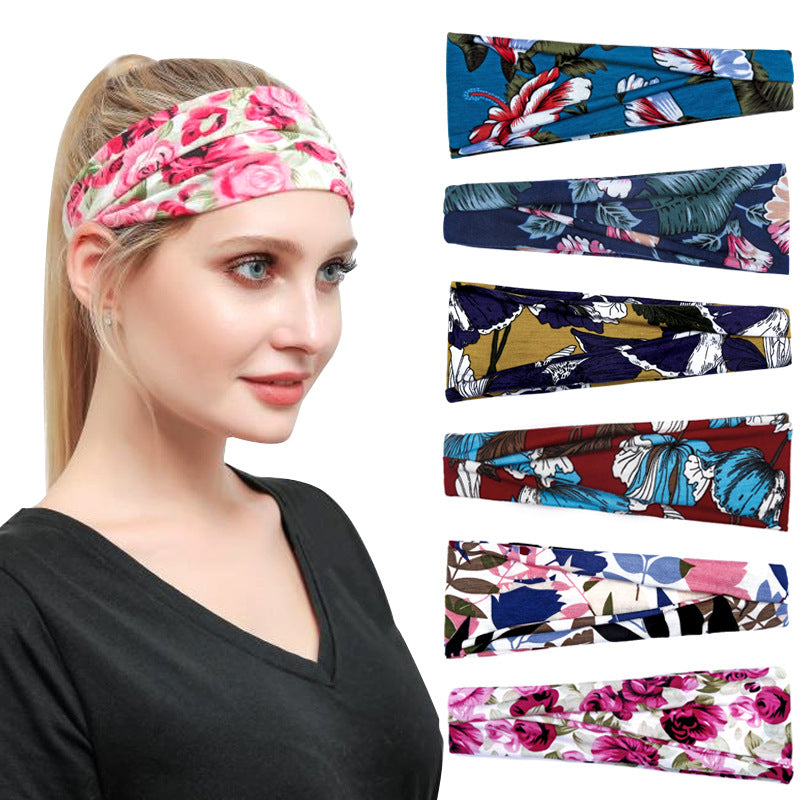 Women Printed Sweat-absorbent Yoga Hairband