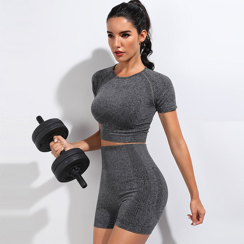 Sexy Tight Running Women's Suit with Short Sleeves