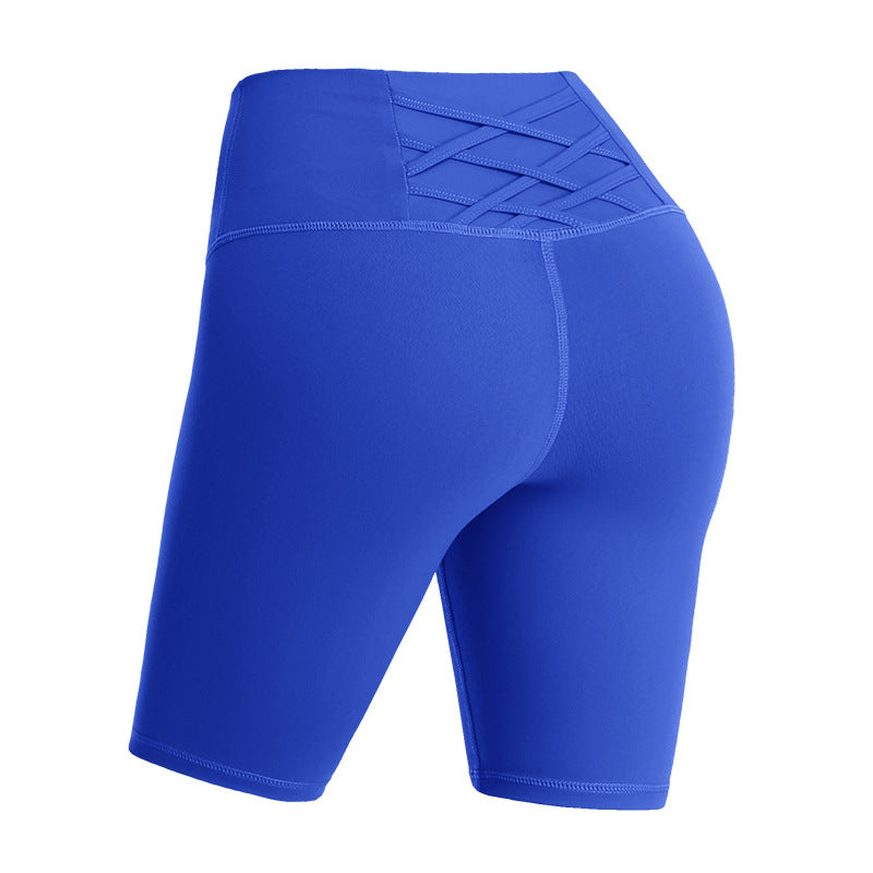 Back Cross 2/1 High-waist Tight-Fitting Yoga Shorts with Pockets