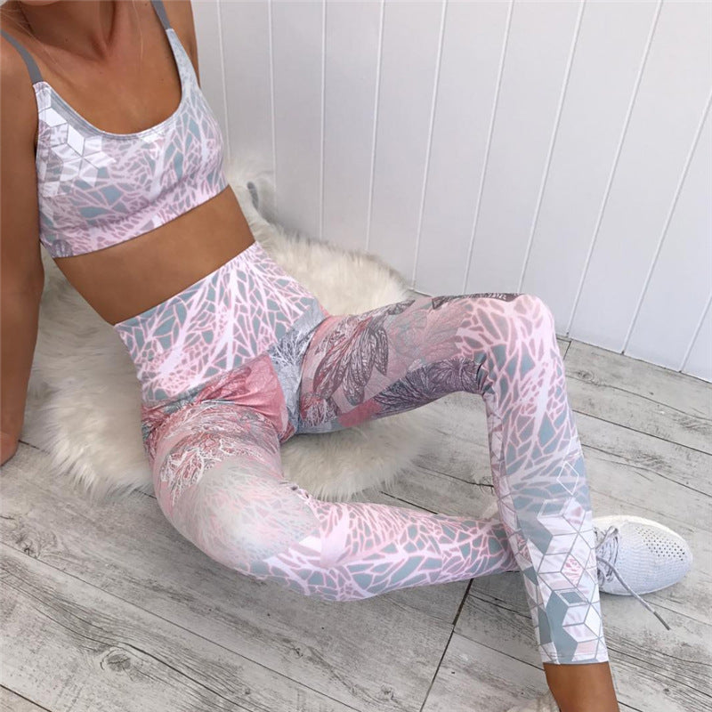Floral Printing Yoga Workout Suit