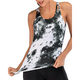 Printed Workout Tops with Built in Bra Tanks