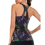 Printed Yoga Tops Shirt with Built in Bra