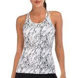 Printed Sports Yoga Tops with Built in Bra