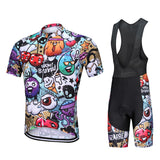 Mountain Biker Tops Suspenders Pants Cycling Suit Short Sleeves