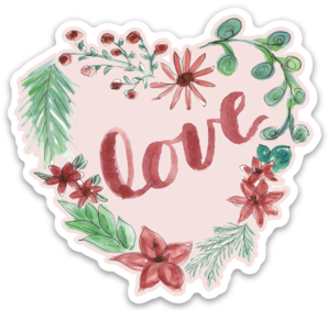 Heart Wreath Love Sticker - PINK
