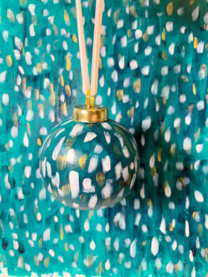 Green and Gold Ceramic Christmas Ornament