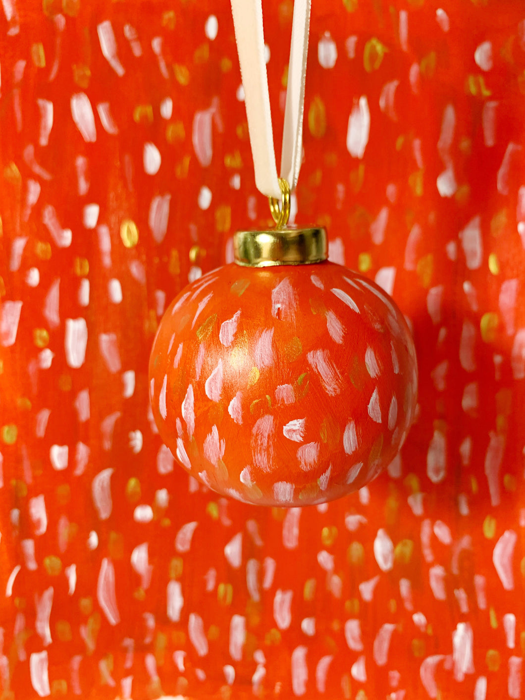 Red and Gold Ceramic Christmas Ornament