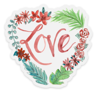 Heart Wreath Love Sticker - CLEAR