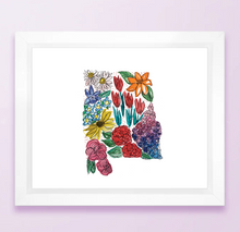 Load image into Gallery viewer, Floral State Map Print - Alabama