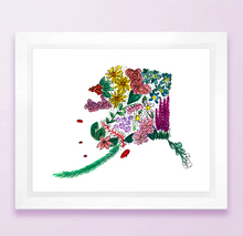 Load image into Gallery viewer, Floral State Map Print - Alaska