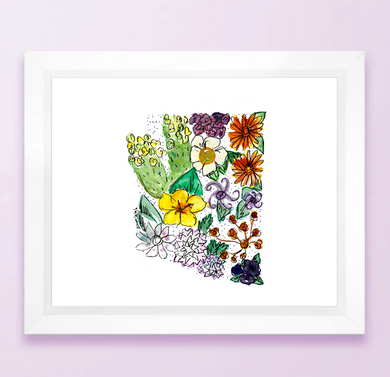 Floral State Map Print - Arizona