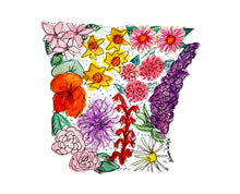 Load image into Gallery viewer, Floral State Map Print - Arkansas