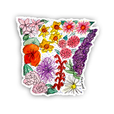 Floral State Sticker - Arkansas