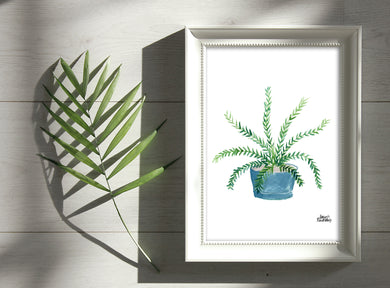 Watercolor Plant Print - Boston Fern