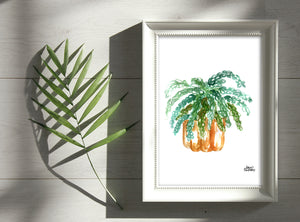 Watercolor Plant Print - Burros