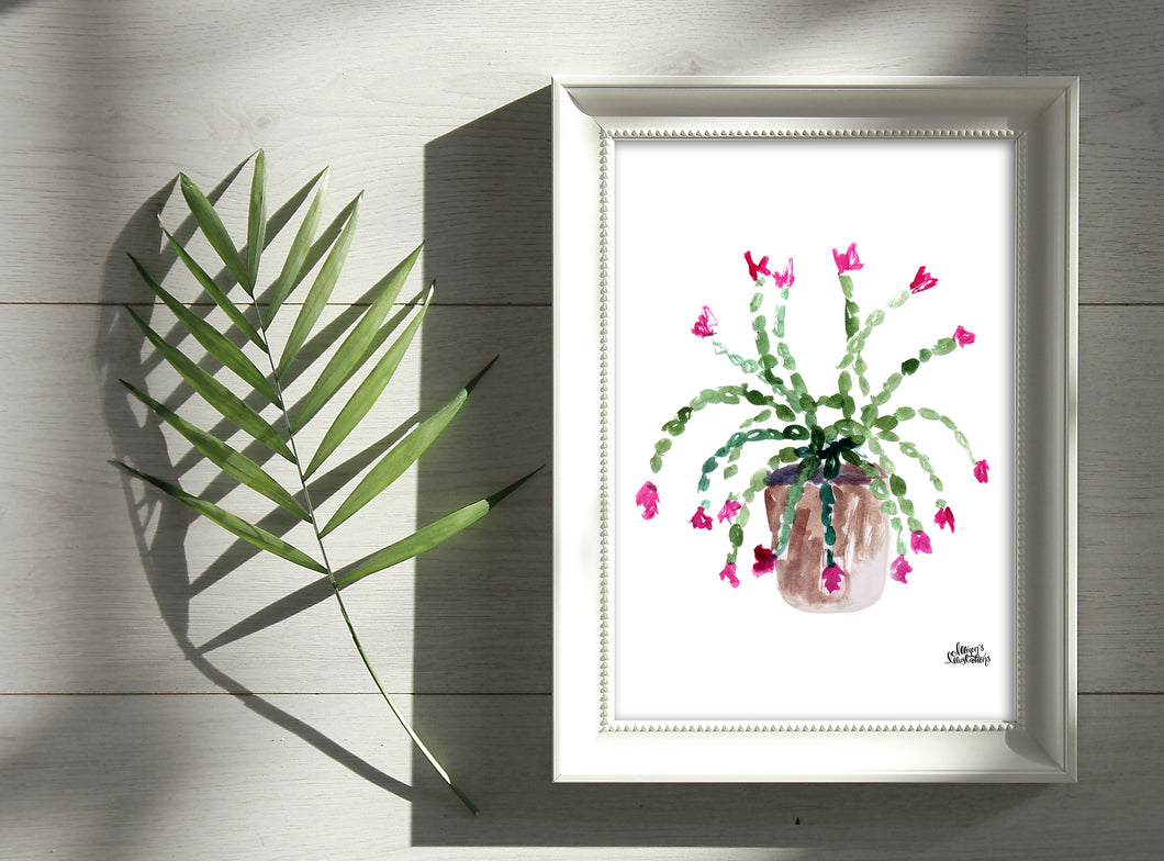 Watercolor Plant Print - Christmas Cactus