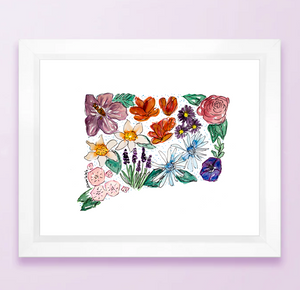 Floral State Map Print - Connecticut