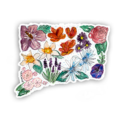 Floral State Sticker - Connecticut