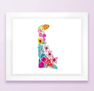 Floral State Map Print - Delaware