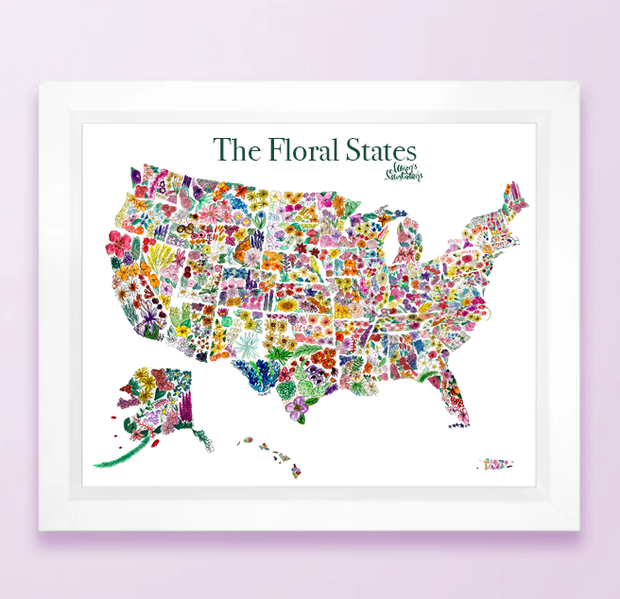 Floral State Map Print - USA 1
