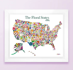 Floral State Map Print - USA