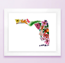 Load image into Gallery viewer, Floral State Map Print - Florida