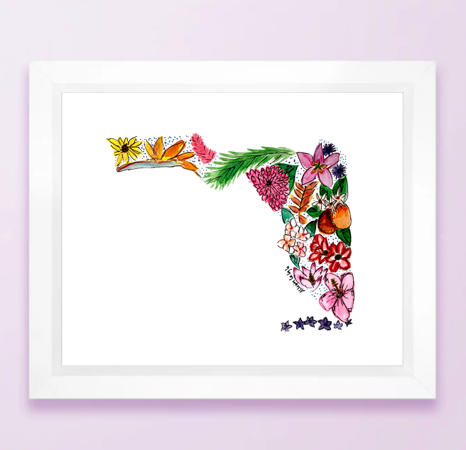 Floral State Map Print - Florida