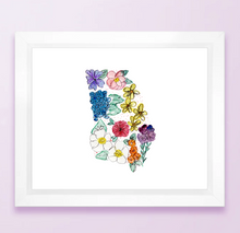 Load image into Gallery viewer, Floral State Map Print - Georgia