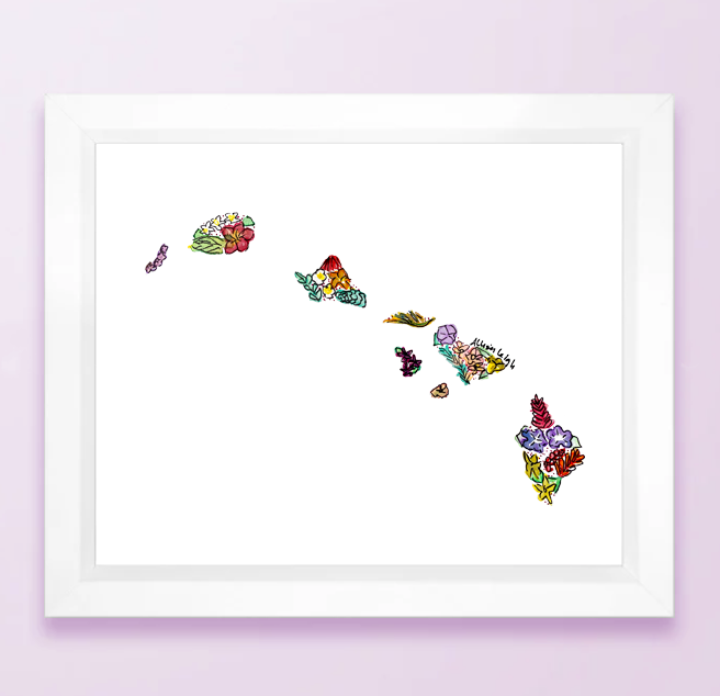 Floral State Map Print - Hawaii