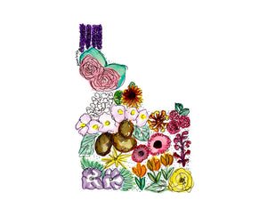 Idaho Floral State Print