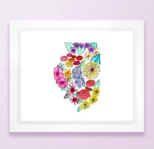 Load image into Gallery viewer, Floral State Map Print - Illinois