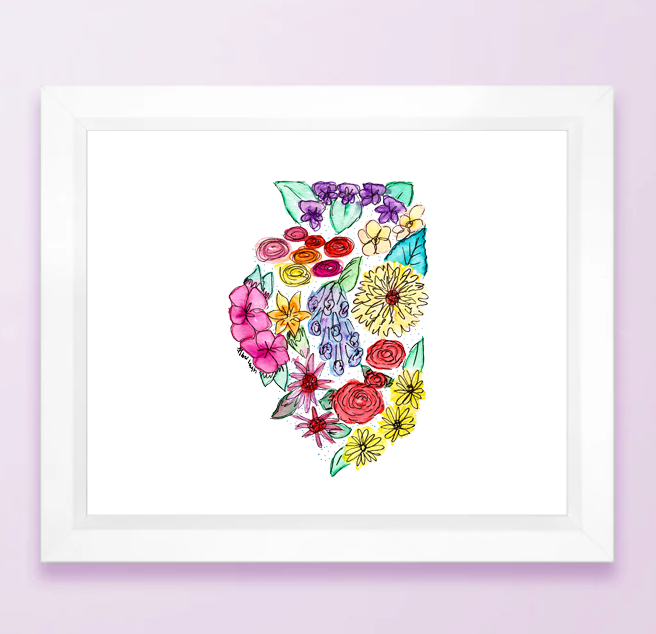 Floral State Map Print - Illinois