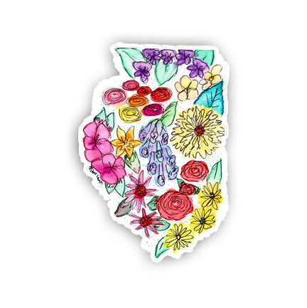 Floral State Sticker - Illinois