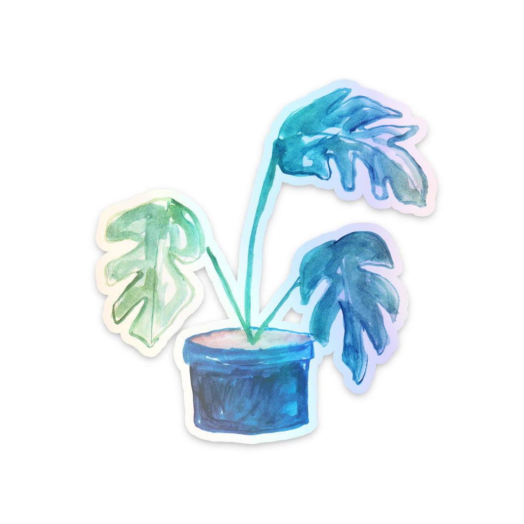 Split-Leaf Philodendron Holographic Sticker