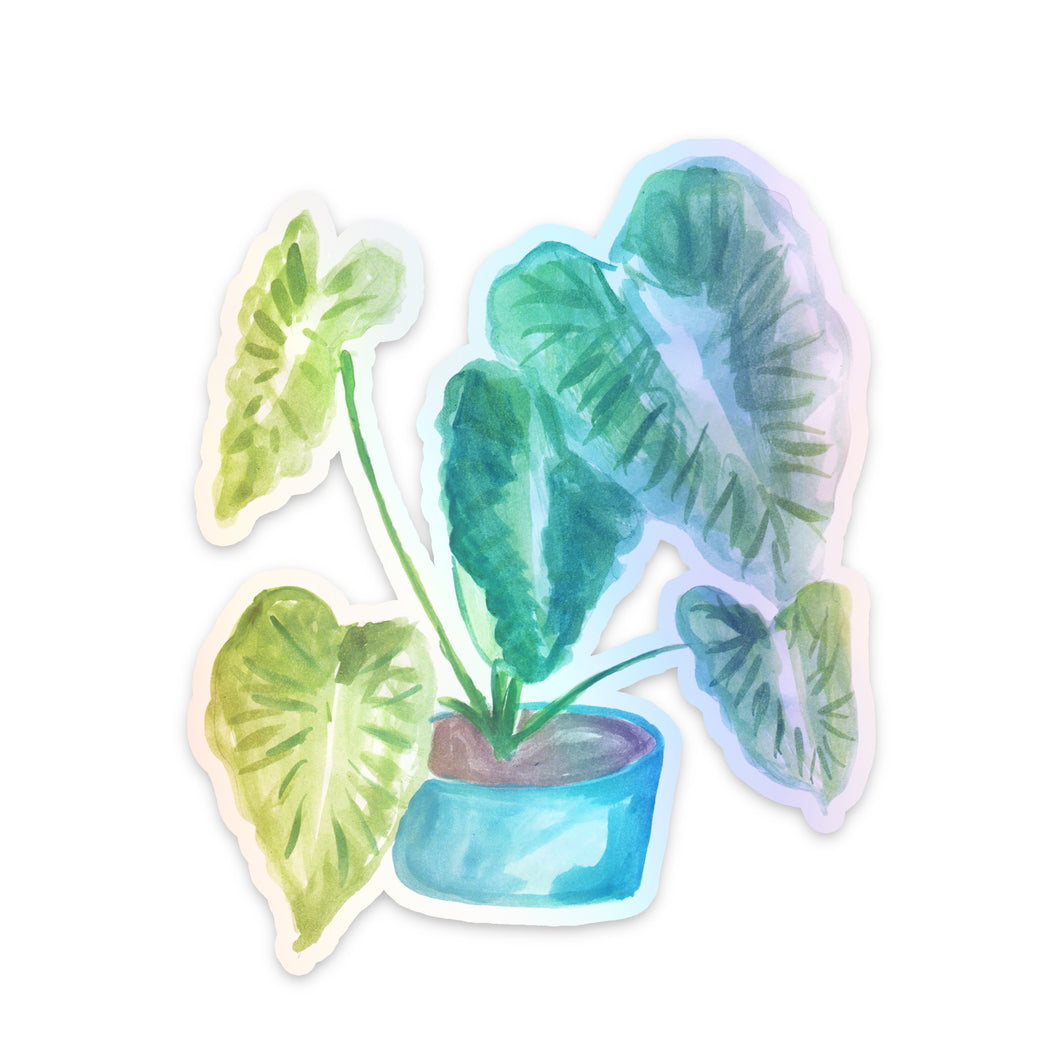 Elephant Ears Plant Holographic Sticker