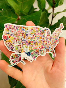 Floral USA Sticker