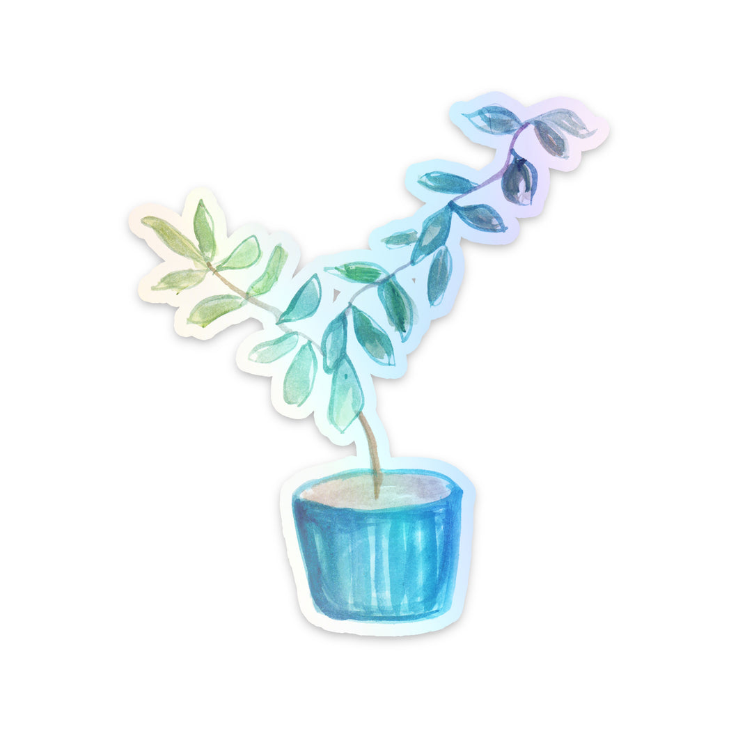 Rubber Tree Holographic Sticker