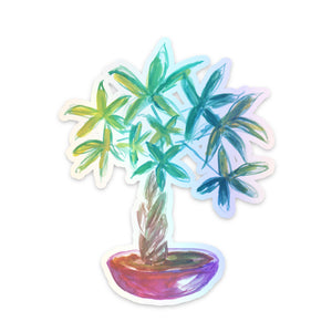 Money Tree Plant Holographic Sticker
