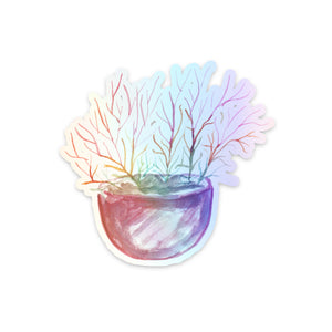Firestick Cactus Plant Holographic Sticker