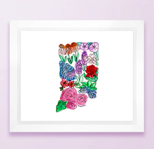 Load image into Gallery viewer, Floral State Map Print - Indiana