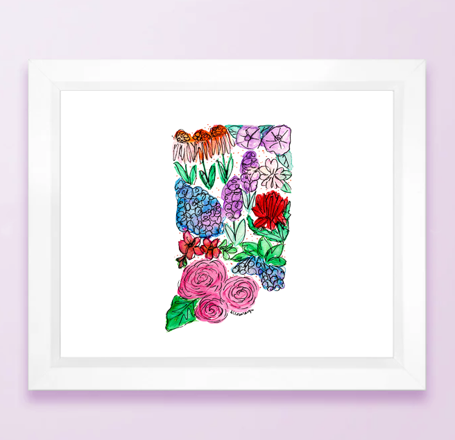 Floral State Map Print - Indiana