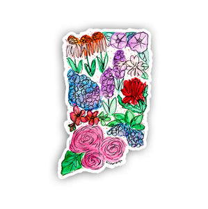 Floral State Sticker - Indiana