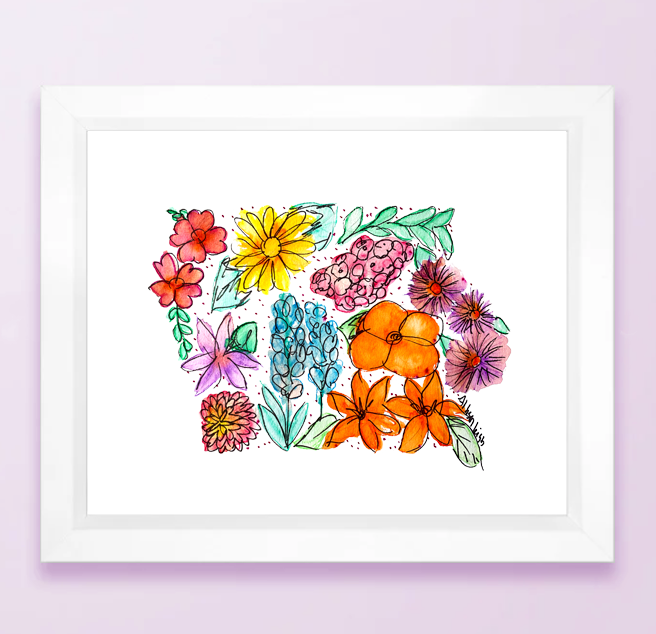 Floral State Map Print - Iowa