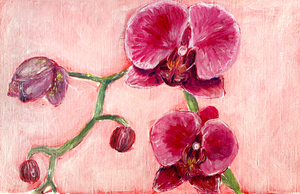Family Floral Orchid Original Painting - Josefa