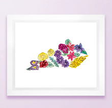 Load image into Gallery viewer, Floral State Map Print - Kentucky