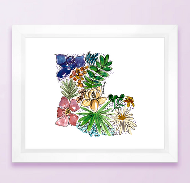 Floral State Map Print - Louisiana