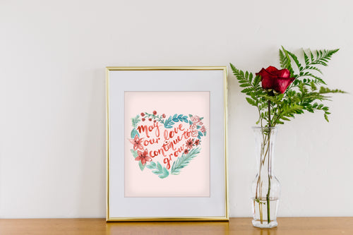 Love Grow Heart Wreath Art Print