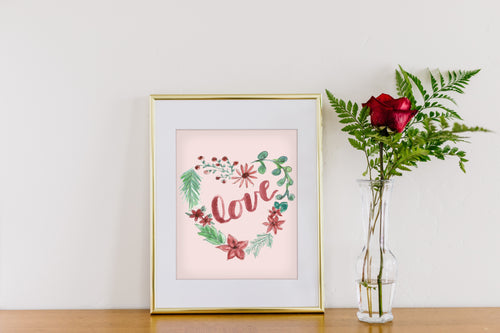 Love Pink Heart Wreath Art Print